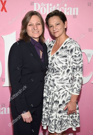 """Cindy Holland, Annie Imhoff. Netflix VP content acquisition and original series Cindy Holland, left, and Annie Imhoff attend the premiere of Netflix's """"The Politician"""" at the DGA New York Theater, in New York"""