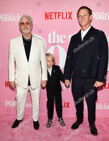 "Stock Photo of Ryan Murphy, Logan Miller, David Miller. Creator/writer/director Ryan Murphy, left, son Logan Miller and spouse David Miller attend the premiere of Netflix's ""The Politician"" at the DGA New York Theater, in New York"