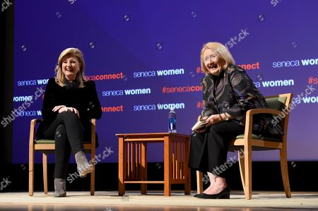 Arianna Huffington, left, Founder and CEO, Thrive Global, and Ambassador Melanne Verveer, co-founder Seneca Women, share a laugh at Seneca Women's forum, Fast Forward: Women in the Economy, at Metropolitan Museum of Art in New York. Today's forum looks at how individuals, communities and companies are advancing women and helping create progress. Visit SenecaWomen.com to learn more