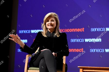 Arianna Huffington, Founder and CEO, Thrive Global, addresses Seneca Women's forum, Fast Forward: Women in the Economy, at Metropolitan Museum of Art in New York. Today's forum looks at how individuals, communities and companies are advancing women and helping create progress. Visit SenecaWomen.com to learn more