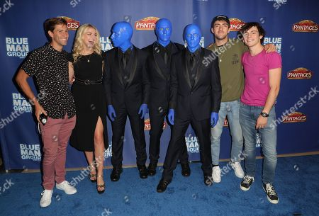 Stock Image of Guest, Rydel Lynch, Rocky Lynch and Ross Lynch with the Blue Man Group