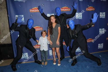 Jeremy Maguire and Aubrey Anderson-Emmons with the Bluer Man Group