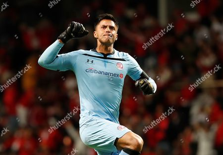 Goalkeeper Alfredo Talavera of Toluca celebrates a goal during the Apertura Tournament (Liga MX) soccer match between Toluca and Atletico de San Luis at the Nemesio Diez Stadium in Toluca, Mexico, 26 September 2019.