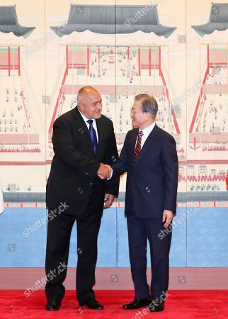 Stock Picture of South Korean President Moon Jae-In (R) shakes hands with Bulgarian Prime Minister Boyko Borissov (L) prior to their talks at the presidential office Cheong Wa Dae in Seoul, South Korea, 27 September 2019. Borissov's trip marked the first visit to South Korea by an Bulgarian leader.