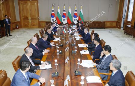 South Korean President Moon Jae-In (5-R) holds talks with Bulgarian Prime Minister Boyko Borissov (5-L) at the presidential office Cheong Wa Dae in Seoul, South Korea, 27 September 2019. Borissov's trip marked the first visit to South Korea by an Bulgarian leader.
