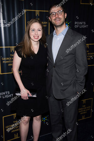 Chelsea Clinton, Marc Mezvinsky. Chelsea Clinton and Marc Mezvinsky attend the George H.W. Bush Points of Light Awards Gala at the Intrepid Sea, Air & Space Museum, in New York