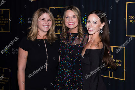 Jenna Bush Hager, Barbara Pierce Bush, Savannah Guthrie. Jenna Bush Hager. left, Savannah Guthrie and Barbara Pierce Bush attend the George H.W. Bush Points of Light Awards Gala at the Intrepid Sea, Air & Space Museum, in New York
