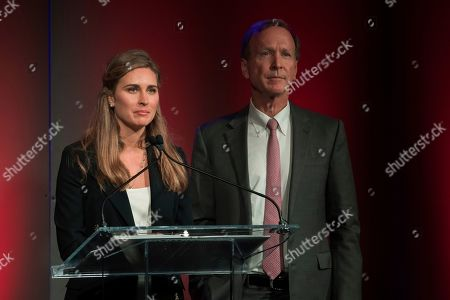 Neil Bush, Lauren Bush. Lauren Bush and Neil Bush speak at the George H.W. Bush Points of Light Awards Gala at the Intrepid Sea, Air & Space Museum, in New York