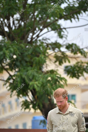 Stock Picture of Prince Harry in front of the Diana Tree in Huambo, Angola, on day five of the royal tour of Africa. The Duke is visiting the minefield where his late mother, the Princess of Wales, was photographed in 1997, which is now a busy street with schools, shops and houses.