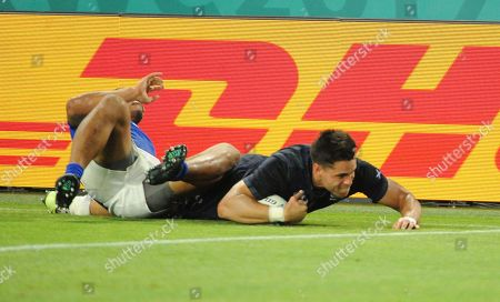 Sean Maitland - Scotland winger slides in for a try in the corner but lost the ball when he was dangerously tackled by Ed Fidow, for which the Samoan winger received a second yellow card, then resulting in a red card and the referee subsequently awarding a penalty try and with it a bonus point win.