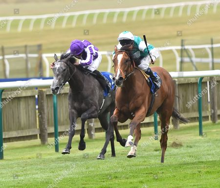 (R) Spirit of Appin (Martin Dwyer) wins Princess Anne Muhaarar Stakes from (L) Simply Beautiful (Ryan Moore).
