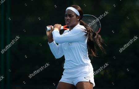 Stock Image of Sloane Stephens of the United States during practice at the 2019 China Open Premier Mandatory tennis tournament