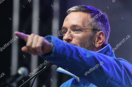 Herbert Kickl, of the right-wing Freedom Party, FPOE, speaks at a closing rally ahead of elections in Vienna, Austria, . The Austrian elections will held on Sunday, Sept. 29, 2019
