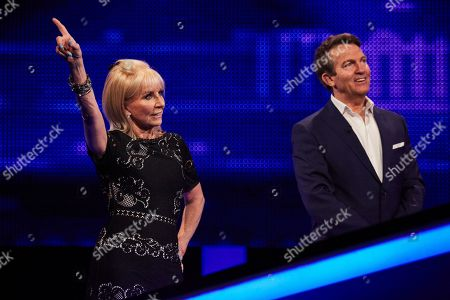 Sarah Greene and host Bradley Walsh facing The Chaser