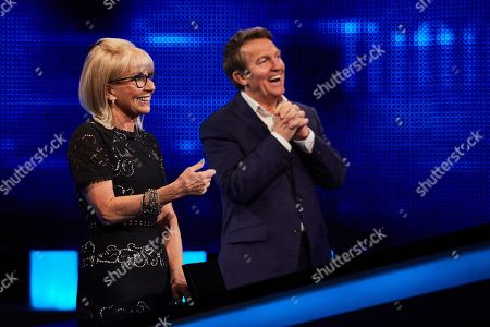 Stock Photo of Sarah Greene and host Bradley Walsh facing The Chaser