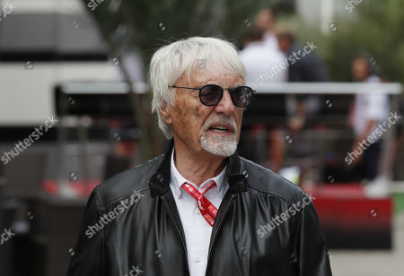 Former Formula One boss Bernie Ecclestone arrives at the in the pit lane during first practice session at the Formula One Grand Prix of Russia at the Sochi Autodrom circuit, in Sochi, Russia, 27 September 2019. The Formula One Grand Prix of Re on 29 Septemussia will take placber 2019.