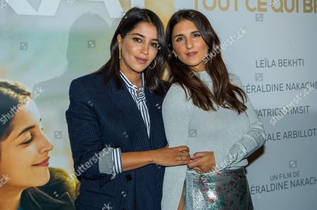 French actress Leila Bekhti (L), french director Geraldine Nakache (R)