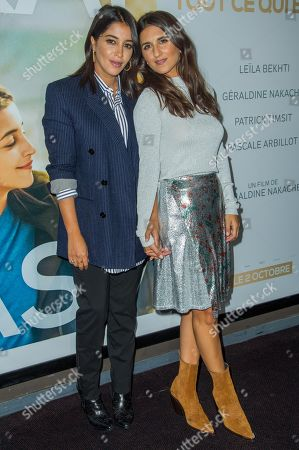 Stock Picture of French actress Leila Bekhti (L), french director Geraldine Nakache (R)