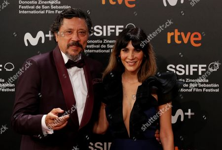 Carlos Bardem and his wife pose during the 67th edition of the San Sebastian International Film Festival (SSIFF) in San Sebastian, northern Spain, 27 September 2019.