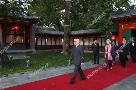 Cambodia's King Norodom Sihamoni (L) and his mother former queen Monique  arrivals Diaoyutai State Guesthouse in Beijing, China, 27 September 2019.