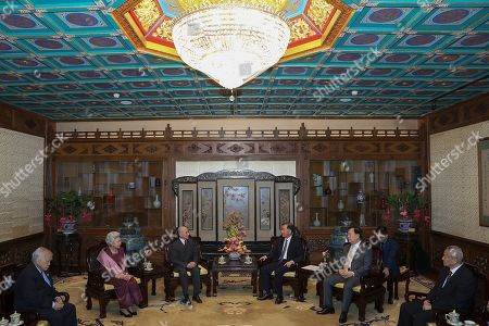 Wang Yang, chairman of the Chinese People's Political Consultative Conference (2nd-R) meet with Cambodia's King Norodom Sihamoni (2nd L) and his mother former queen Monique at Diaoyutai State Guesthouse in Beijing, China, 27 September 2019.