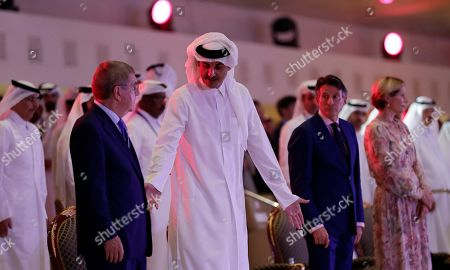 (L-R) International Olympic Committee (IOC) president Thomas Bach of Germany, Sheikh Tamim bin Hamad Al Thani, Emir of Qatar, IAAF president Sebastian Coe of Britain, and Coe's wife Carole Annett attend the opening ceremony of the IAAF World Athletics Championships 2019 in Doha, Qatar, 27 September 2019.