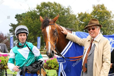 Stock Photo of SPIRIT OF APPIN ridden by Martin Dwyer with owner James Stewart after winning Princess Anne Muhaarar Stakes (Group 3) at Newmarket Copyright: Ian Headington/racingfotos.com