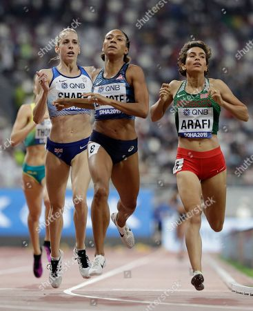 Stock Picture of From right, Rababe Arafi of Morocco, Rénelle Lamote of France and Britain's Lynsey Sharp compete during the women's 800 meters heats at the World Athletics Championships in Doha, Qatar