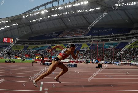 Switzerland's Selina Buchel competes during the women's 800 meters heats at the World Athletics Championships in Doha, Qatar