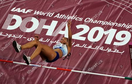 Morgan Lake, of Britain, competes during the women's high jump at the World Athletics Championships in Doha, Qatar