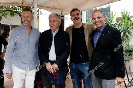 Stock Image of Costa-Gavras (2-L) with actors Alexandros Bourdoumis (2-R), Christos Loulis (L) and former Greek finance minister and co-founder of the 'Democracy in Europe Movement 2025' (DiEM25) Yanis Varoufakis (R) pose during a press conference for the 25th Athens International Film Festival in Athens, Greece, 27 September 2019. This yearâ??s anniversary edition of the Festival honours this long-standing tradition and we are especially happy to select the most anticipated Greek film of the year, â??Adults in the Roomâ?? by the world renowned director Costa-Gavras as the closing film for the 25th Athens International Film Festival.