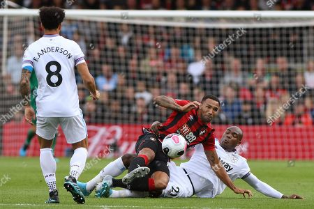 Angelo Ogbonna of West Ham United tackles Callum Wilson of AFC Bournemouth - AFC Bournemouth v West Ham United, Premier League, Vitality Stadium, Bournemouth, UK - 28th September 2019 Editorial Use Only - DataCo restrictions apply