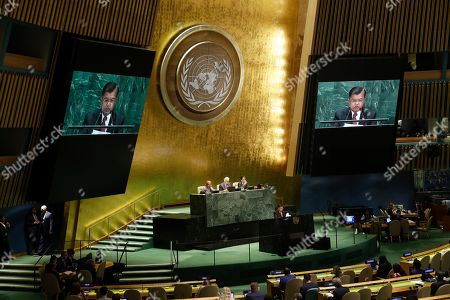 Indonesia's Vice President Jusuf Kalla addresses addresses the 74th session of the United Nations General Assembly, at the United Nations headquarters
