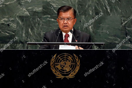 Stock Image of Indonesia's Vice President Muhammad Jusuf Kalla addresses the 74th session of the United Nations General Assembly