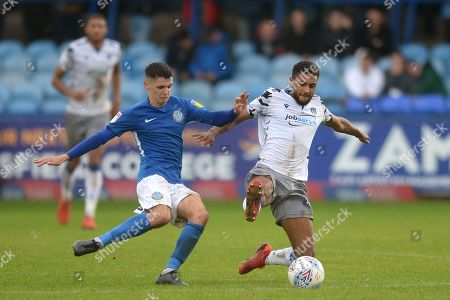 Brandon Comley of Colchester United does battle with Connor Kirby of Macclesfield Town - Macclesfield Town v Colchester United, Sky Bet League Two, Moss Rose, Macclesfield, UK - 28th September 2019