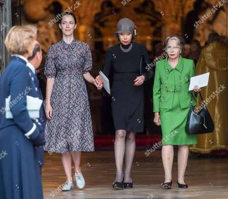 Rebecca Hall Maria Ewing And Leslie Caron The Family Of Sir Peter Hall Including His Four Wives Leaving A Service Of Thanksgiving For The At Westminster Abbey.  11/09/18.