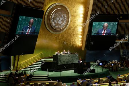 Thomas Motsoahae Thabane, Prime Minister of Lesotho, addresses addresses the 74th session of the United Nations General Assembly, at the United Nations headquarters