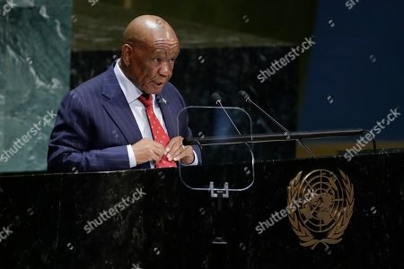 Stock Image of Thomas Motsoahae Thabane, Prime Minister of Lesotho, addresses addresses the 74th session of the United Nations General Assembly, at the United Nations headquarters