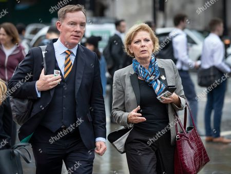 Stock Image of Labour MP Chris Bryant walks to Parliament with Change UK MP Anna Soubry