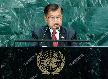 Indonesia's Vice-President Muhammad Jusuf Kalla addresses the General Debate of the 74th session of the General Assembly of the United Nations at United Nations Headquarters in New York, New York, USA, 27 September 2019. The annual meeting of world leaders at the UN runs until 30 September 2019.