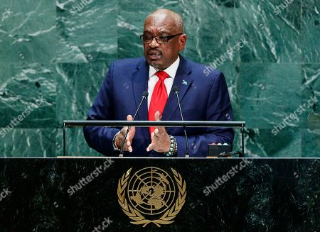 Bermuda?s Prime Minister Hubert Alexander Minnis addresses the General Debate of the 74th session of the General Assembly of the United Nations at United Nations Headquarters in New York, New York, USA, 27 September 2019. The annual meeting of world leaders at the United Nations runs until 30 September 2019.