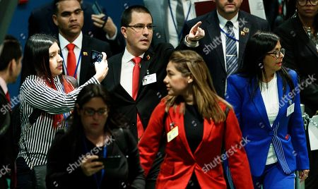 Venezuela?s Foreign Minister Jorge Arreaza (3-L) and Vice-President Delcy Rodriguez Gomez (R) walk through the General Assembly Hall during the General Debate of the 74th session of the General Assembly of the United Nations at United Nations Headquarters in New York, New York, USA, 27 September 2019. The annual meeting of world leaders at the United Nations runs until 30 September 2019.