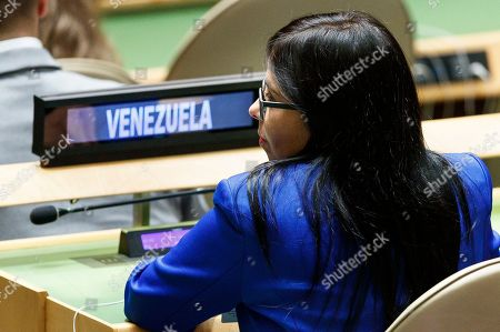 Venezuela?s Vice-President Delcy Rodriguez Gomez sits at her country?s table in the General Assembly Hall during the General Debate of the 74th session of the General Assembly of the United Nations at United Nations Headquarters in New York, New York, USA, 27 September 2019. The annual meeting of world leaders at the United Nations runs until 30 September 2019.