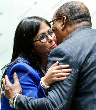 Venezuela?s Vice-President Delcy Rodriguez Gomez  (L) greets a fellow diplomat in the General Assembly Hall during the General Debate of the 74th session of the General Assembly of the United Nations at United Nations Headquarters in New York, New York, USA, 27 September 2019. The annual meeting of world leaders at the United Nations runs until 30 September 2019.