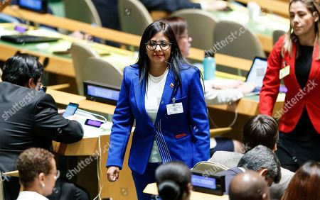 Venezuela?s Vice-President Delcy Rodriguez Gomez (C) walks through the General Assembly Hall during the General Debate of the 74th session of the General Assembly of the United Nations at United Nations Headquarters in New York, New York, USA, 27 September 2019. The annual meeting of world leaders at the United Nations runs until 30 September 2019.