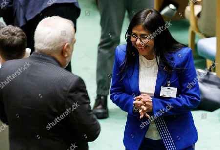 Venezuela?s Vice-President Delcy Rodriguez Gomez (R) greets Iran?s Foreign Minister Mohammad Javad Zarif (L) in the General Assembly Hall during the General Debate of the 74th session of the General Assembly of the United Nations at United Nations Headquarters in New York, New York, USA, 27 September 2019. The annual meeting of world leaders at the United Nations runs until 30 September 2019.