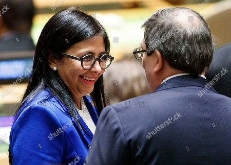 Venezuela?s Vice-President Delcy Rodriguez Gomez  (L) talks with Cuba?s Foriegn Minister Bruno Rodríguez Parrilla (R) in the General Assembly Hall during the General Debate of the 74th session of the General Assembly of the United Nations at United Nations Headquarters in New York, New York, USA, 27 September 2019. The annual meeting of world leaders at the United Nations runs until 30 September 2019.