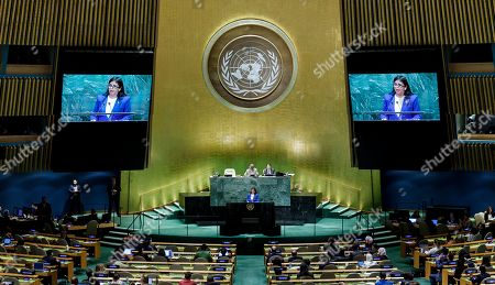 Venezuela?s Vice-President Delcy Rodriguez Gomez addressees the General Debate of the 74th session of the General Assembly of the United Nations at United Nations Headquarters in New York, New York, USA, 27 September 2019. The annual meeting of world leaders at the United Nations runs until 30 September 2019.