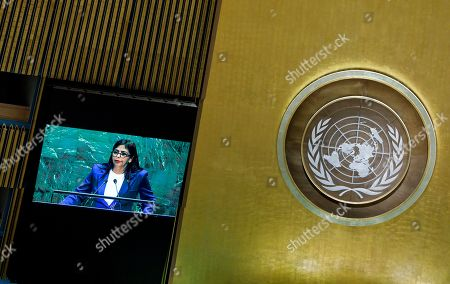 Venezuela?s Vice-President Delcy Rodriguez Gomez addresses the General Debate of the 74th session of the General Assembly of the United Nations at United Nations Headquarters in New York, New York, USA, 27 September 2019. The annual meeting of world leaders at the United Nations runs until 30 September 2019.