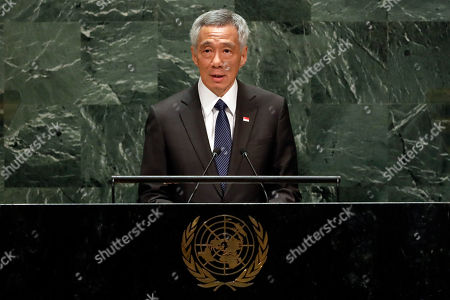 Singapore's Prime Minister Lee Hsien Loong addresses the 74th session of the United Nations General Assembly